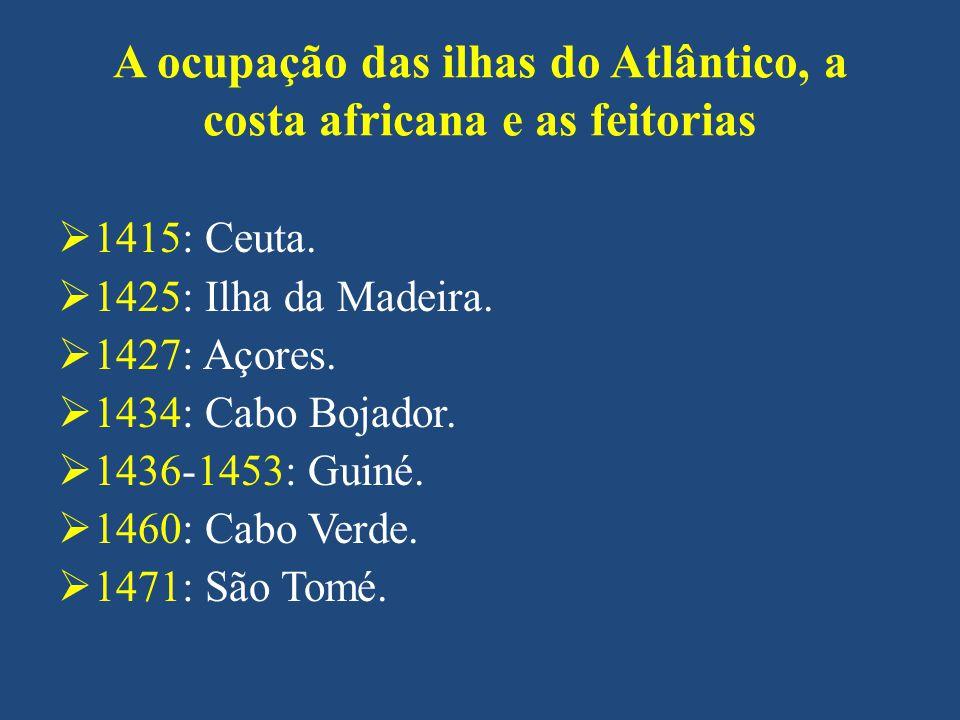 A ocupação das ilhas do Atlântico, a costa africana e as feitorias 1415: Ceuta. 1425: Ilha da Madeira. 1427: Açores. 1434: Cabo Bojador. 1436-1453: Gu
