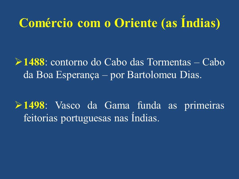 Comércio com o Oriente (as Índias) 1488: contorno do Cabo das Tormentas – Cabo da Boa Esperança – por Bartolomeu Dias. 1498: Vasco da Gama funda as pr
