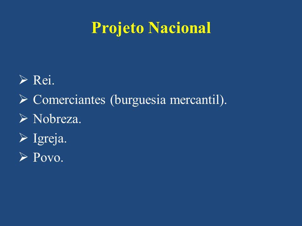 Projeto Nacional Rei. Comerciantes (burguesia mercantil). Nobreza. Igreja. Povo.