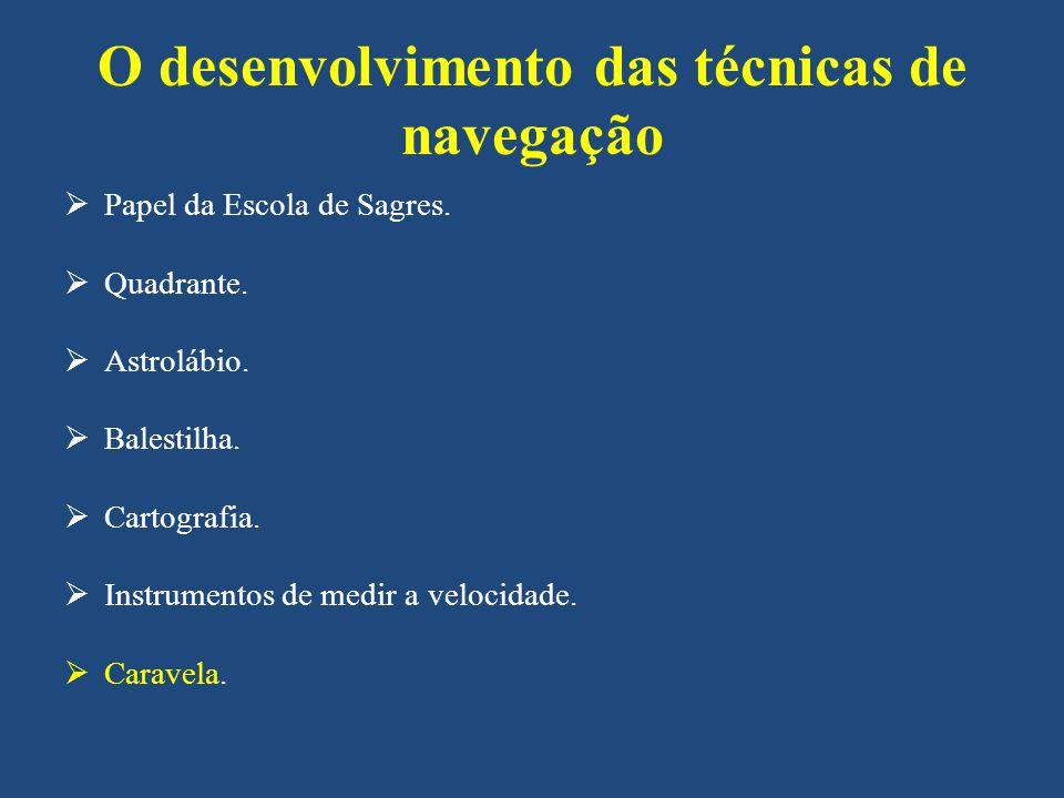 O desenvolvimento das técnicas de navegação Papel da Escola de Sagres.