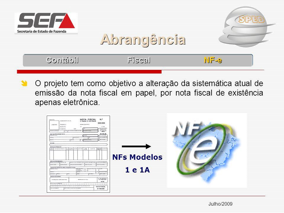 Julho/2009 O projeto tem como objetivo a alteração da sistemática atual de emissão da nota fiscal em papel, por nota fiscal de existência apenas eletrônica.