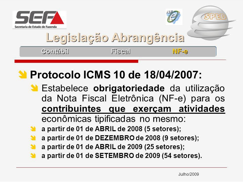 Julho/2009 Protocolo ICMS 10 de 18/04/2007: Estabelece obrigatoriedade da utilização da Nota Fiscal Eletrônica (NF-e) para os contribuintes que exerçam atividades econômicas tipificadas no mesmo: a partir de 01 de ABRIL de 2008 (5 setores); a partir de 01 de DEZEMBRO de 2008 (9 setores); a partir de 01 de ABRIL de 2009 (25 setores); a partir de 01 de SETEMBRO de 2009 (54 setores).