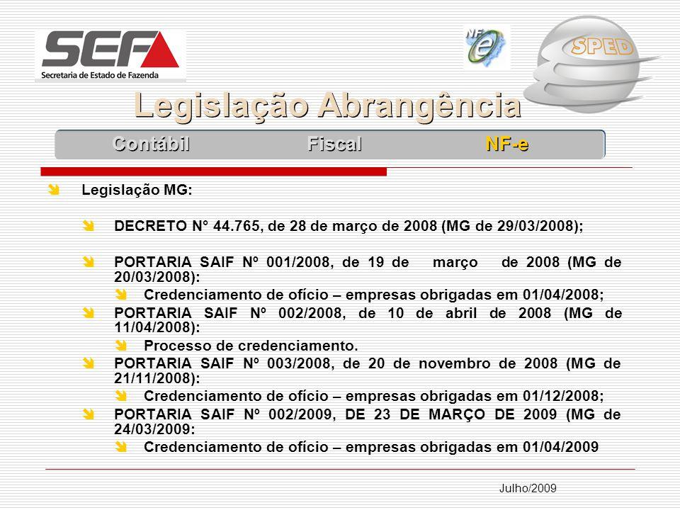 Julho/2009 Legislação MG: DECRETO N° 44.765, de 28 de março de 2008 (MG de 29/03/2008); PORTARIA SAIF Nº 001/2008, de 19 de março de 2008 (MG de 20/03/2008): Credenciamento de ofício – empresas obrigadas em 01/04/2008; PORTARIA SAIF Nº 002/2008, de 10 de abril de 2008 (MG de 11/04/2008): Processo de credenciamento.