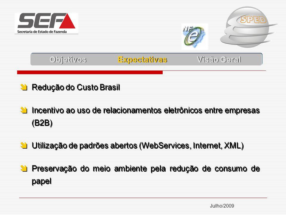 Julho/2009 Redução do Custo Brasil Incentivo ao uso de relacionamentos eletrônicos entre empresas (B2B) Utilização de padrões abertos (WebServices, Internet, XML) Preservação do meio ambiente pela redução de consumo de papel Redução do Custo Brasil Incentivo ao uso de relacionamentos eletrônicos entre empresas (B2B) Utilização de padrões abertos (WebServices, Internet, XML) Preservação do meio ambiente pela redução de consumo de papel Objetivos Expectativas Visão Geral