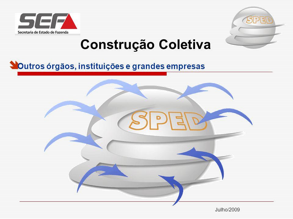 Julho/2009 Devido a abrangência do projeto, sua elaboração foi dividida em módulos: Escrituração Contábil Digital – ECD: (IN RFB 787/07 ); Escrituração Fiscal Digital – EFD: Ajuste SINIEF 02/09 (Convênio ICMS 143/2006); Ato COTEPE 09/2008; Protocolo ICMS 77/08 Nota Fiscal eletrônica – NF-e; Conhecimento de Transporte eletrônico – CT-e: Ajuste SINIEF 09/07; Ato COTEPE 08/08.