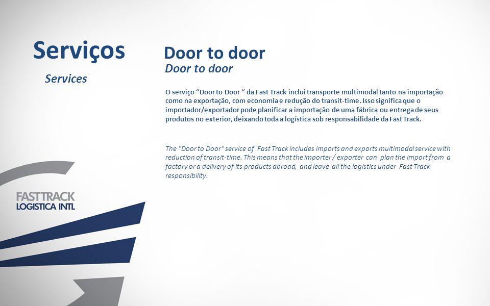 O serviço Door to Door da Fast Track inclui transporte multimodal tanto na importação como na exportação, com economia e redução do transit-time.