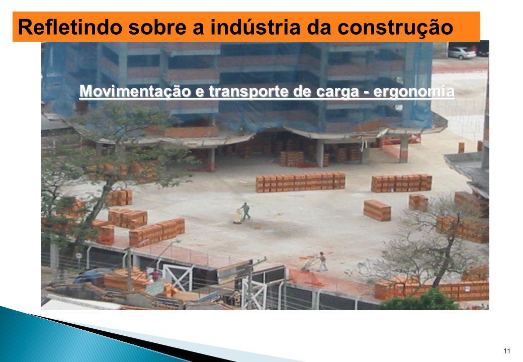 Movimentação e transporte de carga - ergonomia 11 Refletindo sobre a indústria da construção