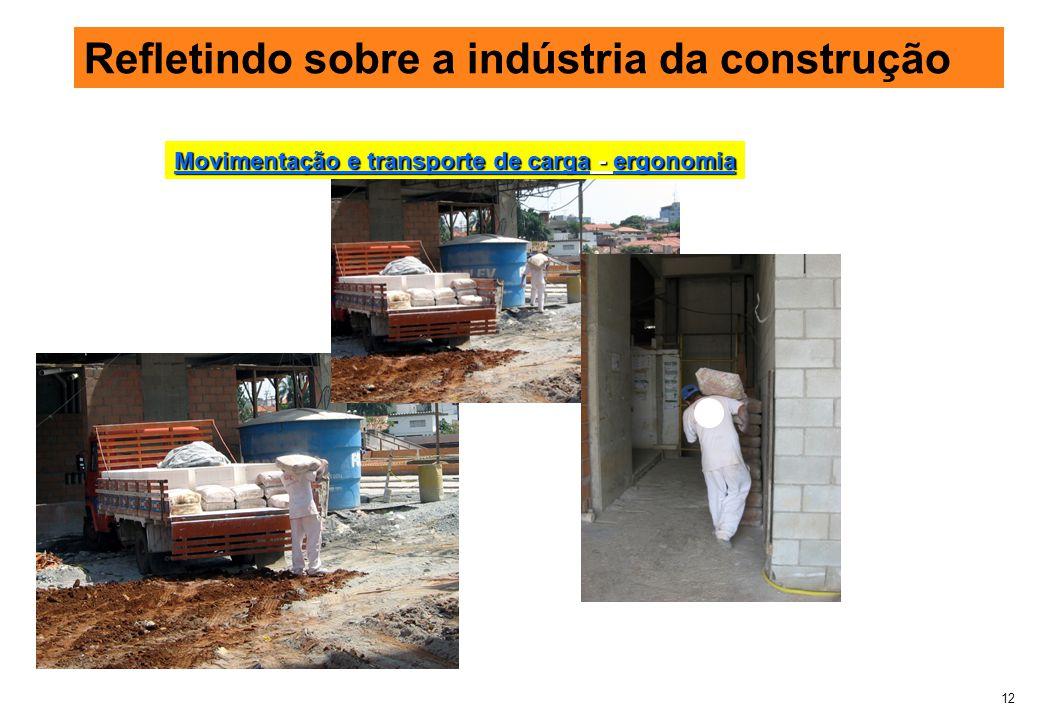 12 Refletindo sobre a indústria da construção Movimentação e transporte de carga - ergonomia