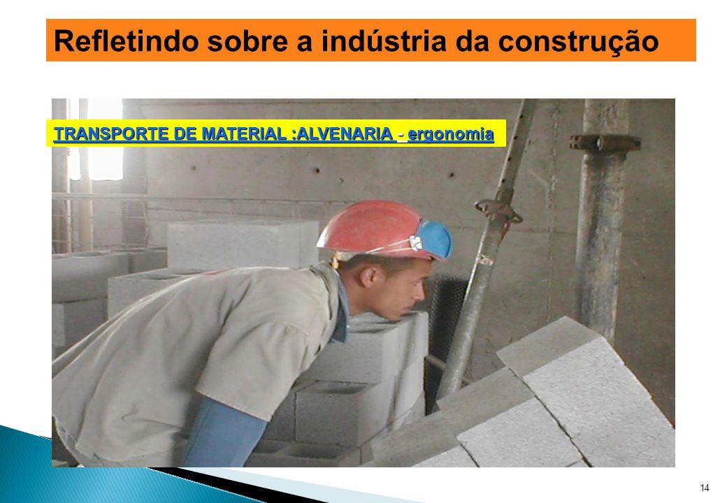 14 Refletindo sobre a indústria da construção TRANSPORTE DE MATERIAL :ALVENARIA - ergonomia