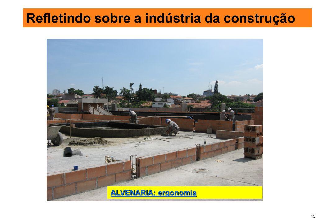15 Refletindo sobre a indústria da construção ALVENARIA: ergonomia