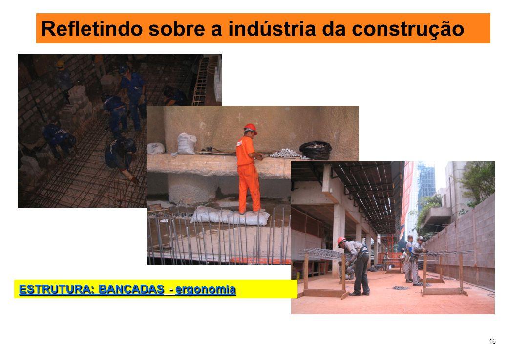16 Refletindo sobre a indústria da construção ESTRUTURA: BANCADAS - ergonomia