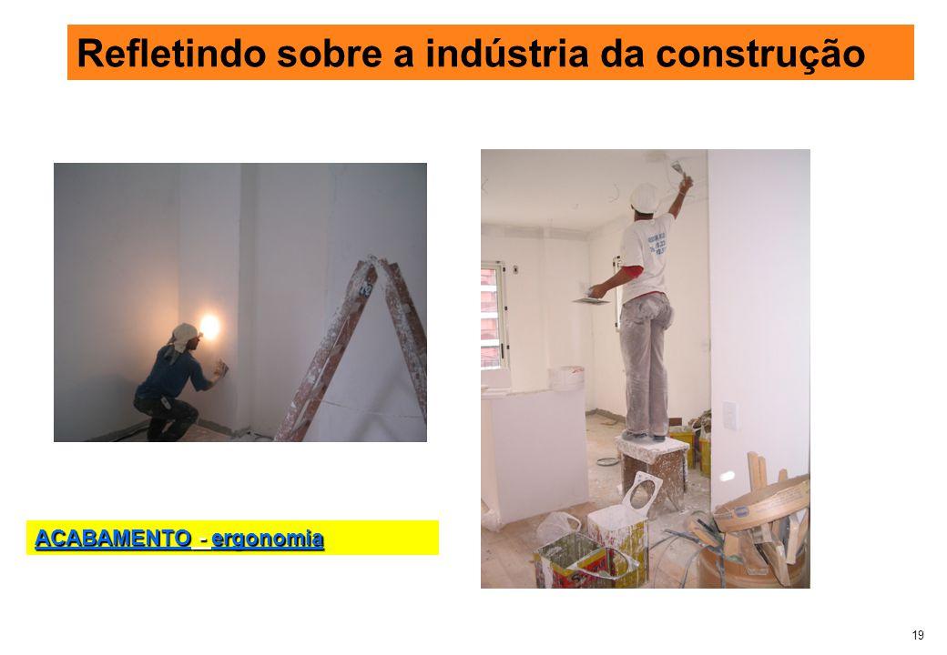 19 Refletindo sobre a indústria da construção ACABAMENTO - ergonomia