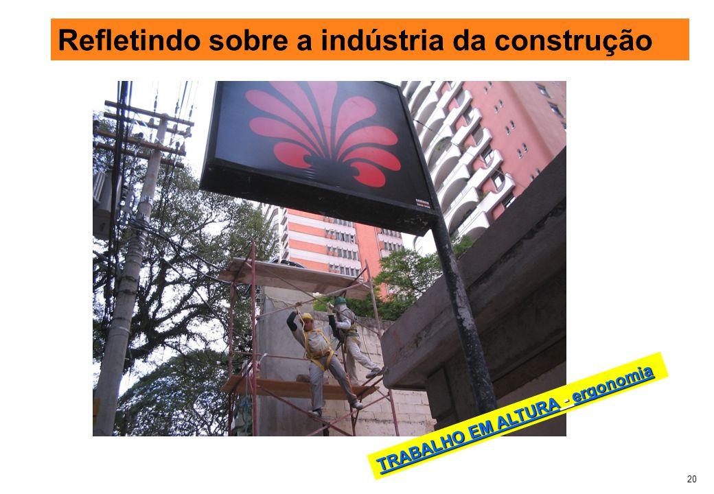 20 Refletindo sobre a indústria da construção TRABALHO EM ALTURA - ergonomia