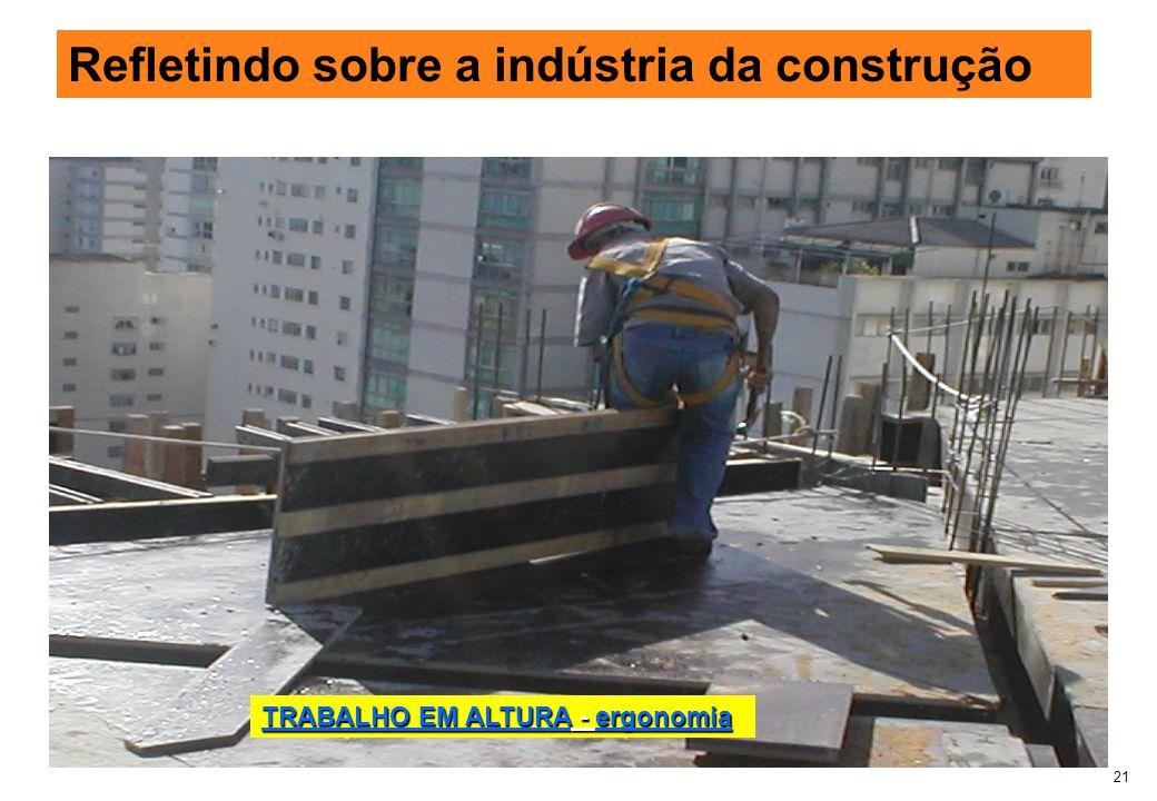 21 Refletindo sobre a indústria da construção TRABALHO EM ALTURA - ergonomia