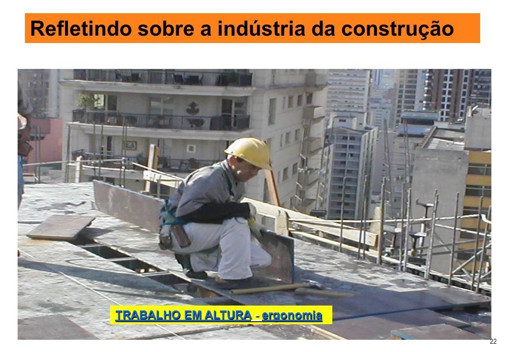 22 Refletindo sobre a indústria da construção TRABALHO EM ALTURA - ergonomia