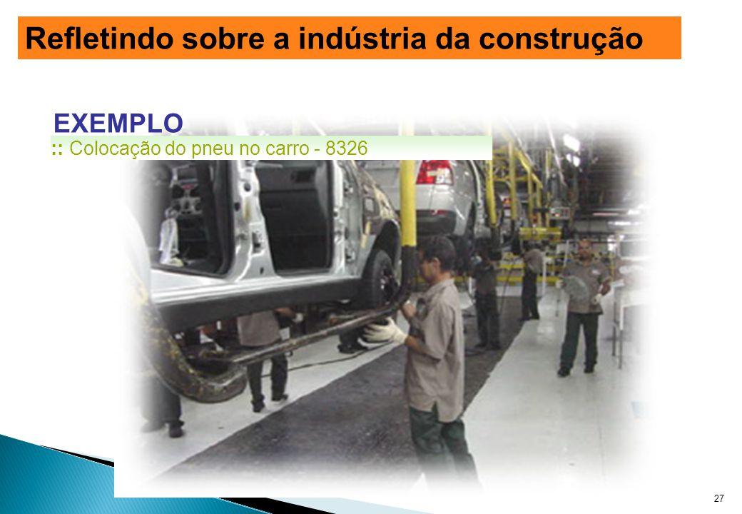 EXEMPLO :: Colocação do pneu no carro - 8326 27 Refletindo sobre a indústria da construção