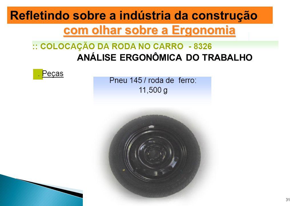 . Peças ANÁLISE ERGONÔMICA DO TRABALHO Pneu 145 / roda de ferro: 11,500 g :: COLOCAÇÃO DA RODA NO CARRO - 8326 Evolução das Modificações da NR-18 com