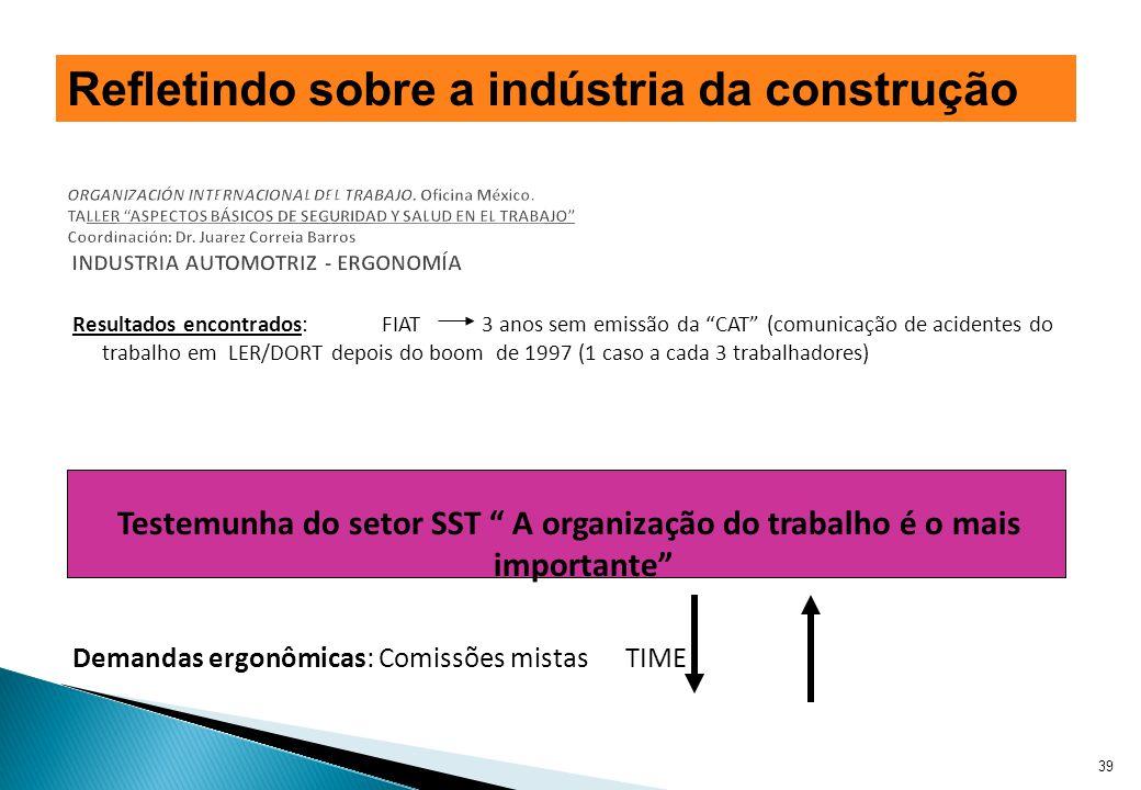Resultados encontrados: FIAT 3 anos sem emissão da CAT (comunicação de acidentes do trabalho em LER/DORT depois do boom de 1997 (1 caso a cada 3 traba