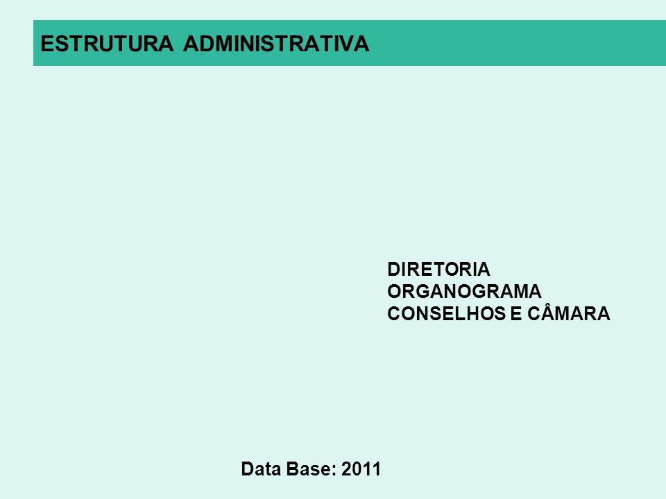 ESTRUTURA ADMINISTRATIVA DIRETORIA ORGANOGRAMA CONSELHOS E CÂMARA Data Base: 2011