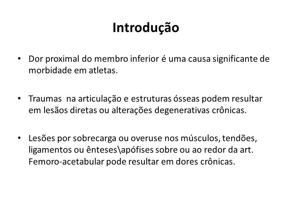 Introdução Dor proximal do membro inferior é uma causa significante de morbidade em atletas.