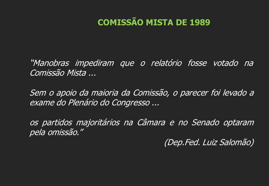 COMISSÃO MISTA DE 1989 Manobras impediram que o relatório fosse votado na Comissão Mista... Sem o apoio da maioria da Comissão, o parecer foi levado a