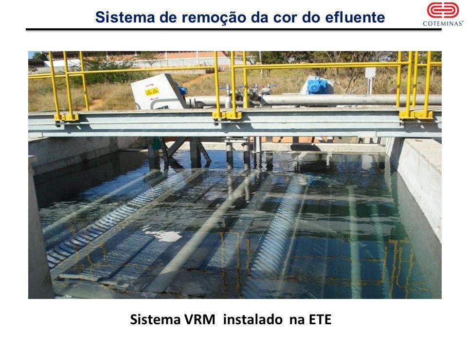 Sistema de remoção da cor do efluente Sistema VRM instalado na ETE