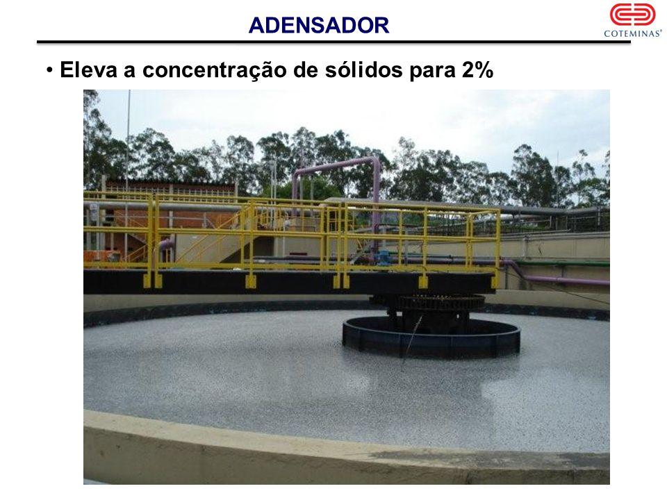 ADENSADOR Eleva a concentração de sólidos para 2%