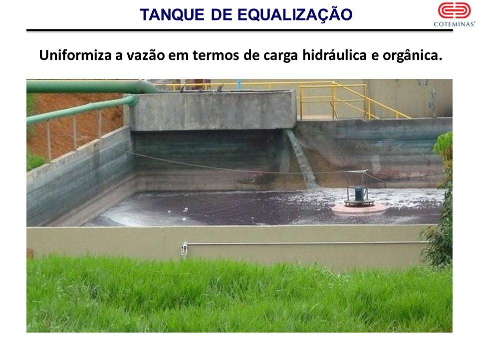 TANQUE DE EQUALIZAÇÃO Uniformiza a vazão em termos de carga hidráulica e orgânica.