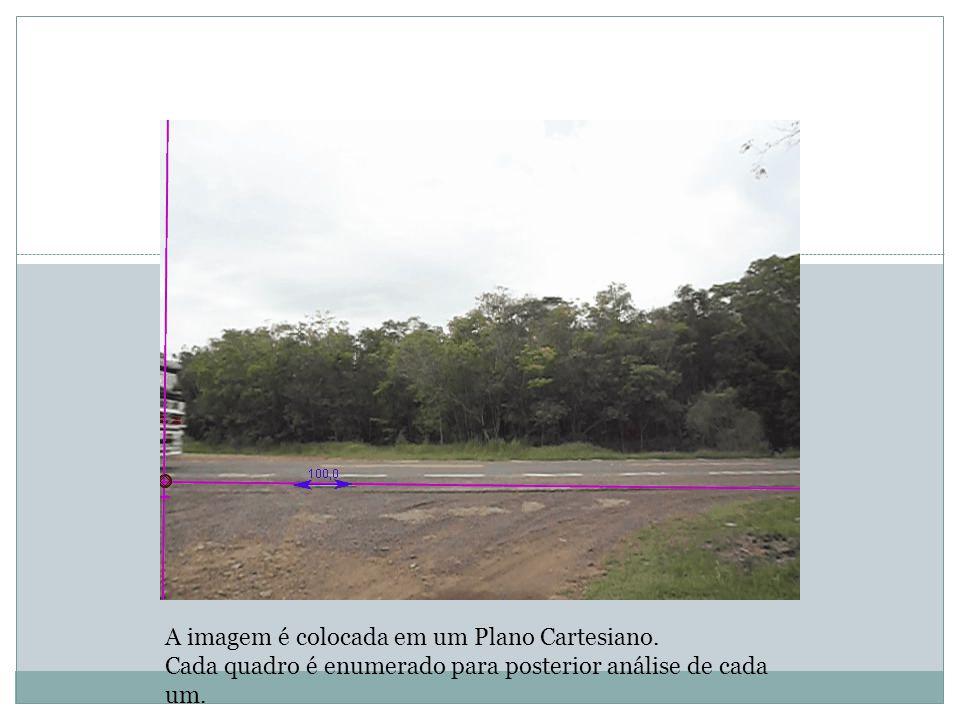 A imagem é colocada em um Plano Cartesiano. Cada quadro é enumerado para posterior análise de cada um.