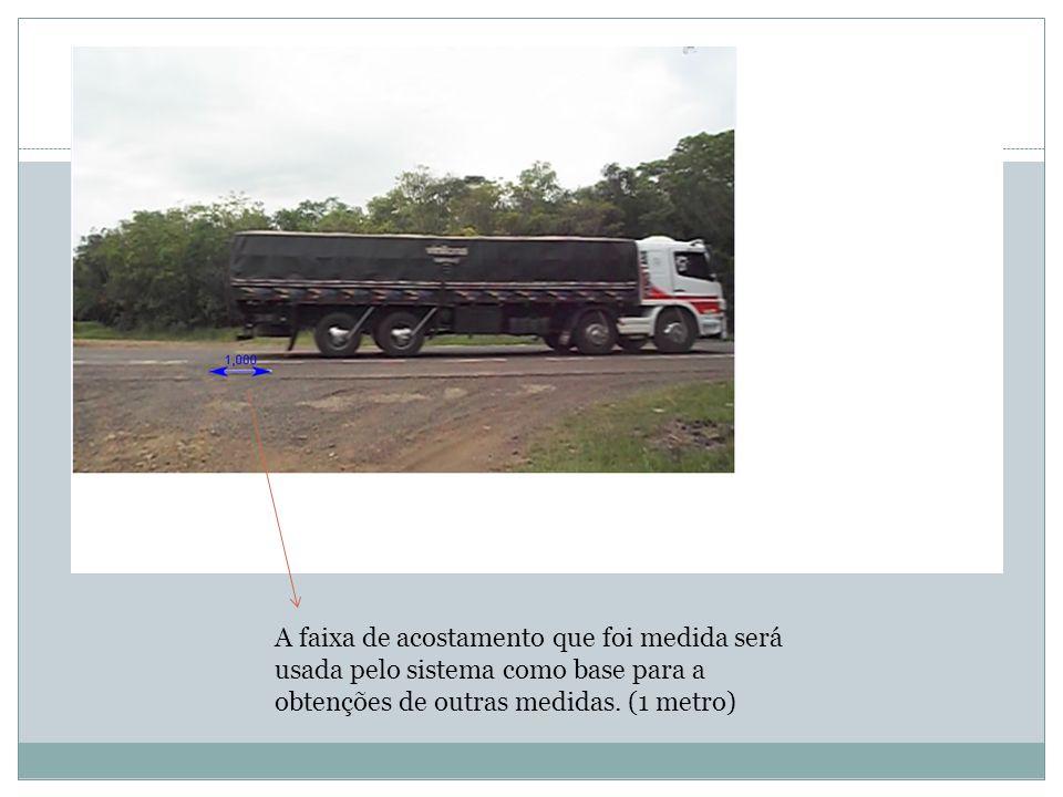 A faixa de acostamento que foi medida será usada pelo sistema como base para a obtenções de outras medidas. (1 metro)