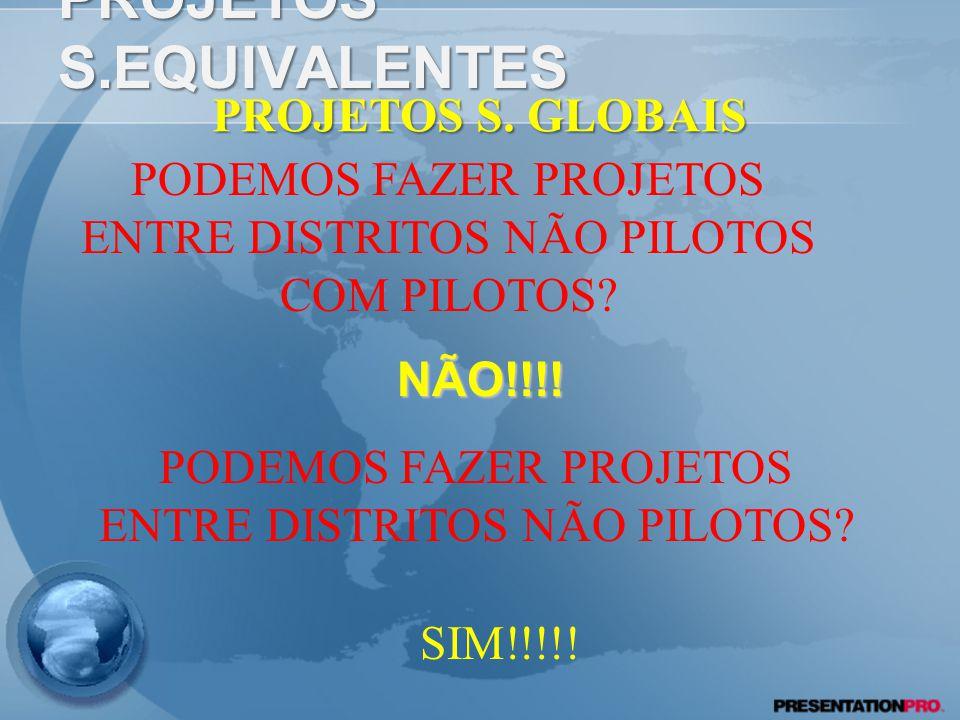 PROJETOS S. EQUIVALENTES SIM!!!! PROJETOS S. GLOBAIS TEM CONTRAPARTIDA DA FUNDAÇÃO ROTÁRIA? PODEMOS FAZER PROJETOS ENTRE DISTRITOS PILOTOS? SIM!!!!!