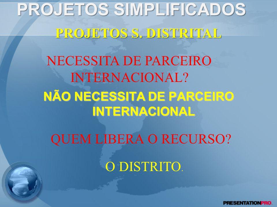 PROJETOS SIMPLIFICADOS NÃO NECESSITA DE PARCEIRO INTERNACIONAL PROJETOS S.