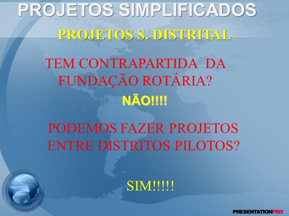 PROJETOS SIMPLIFICADOS NÃO!!!.PROJETOS S. DISTRITAL TEM CONTRAPARTIDA DA FUNDAÇÃO ROTÁRIA.
