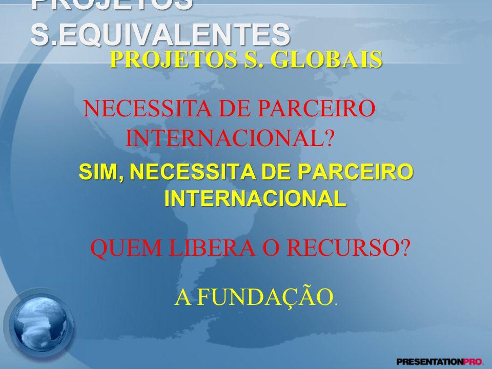 PROJETOS S.EQUIVALENTES SIM, NECESSITA DE PARCEIRO INTERNACIONAL PROJETOS S.