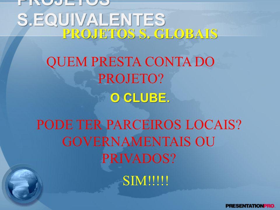 PROJETOS S.EQUIVALENTES O CLUBE.PROJETOS S. GLOBAIS QUEM PRESTA CONTA DO PROJETO.