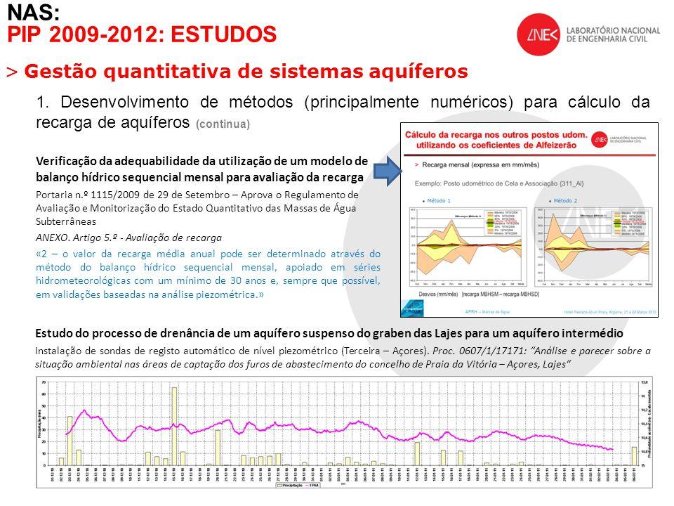 >Gestão quantitativa de sistemas aquíferos NAS: PIP 2009-2012: ESTUDOS Estudo do processo de drenância de um aquífero suspenso do graben das Lajes para um aquífero intermédio Instalação de sondas de registo automático de nível piezométrico (Terceira – Açores).