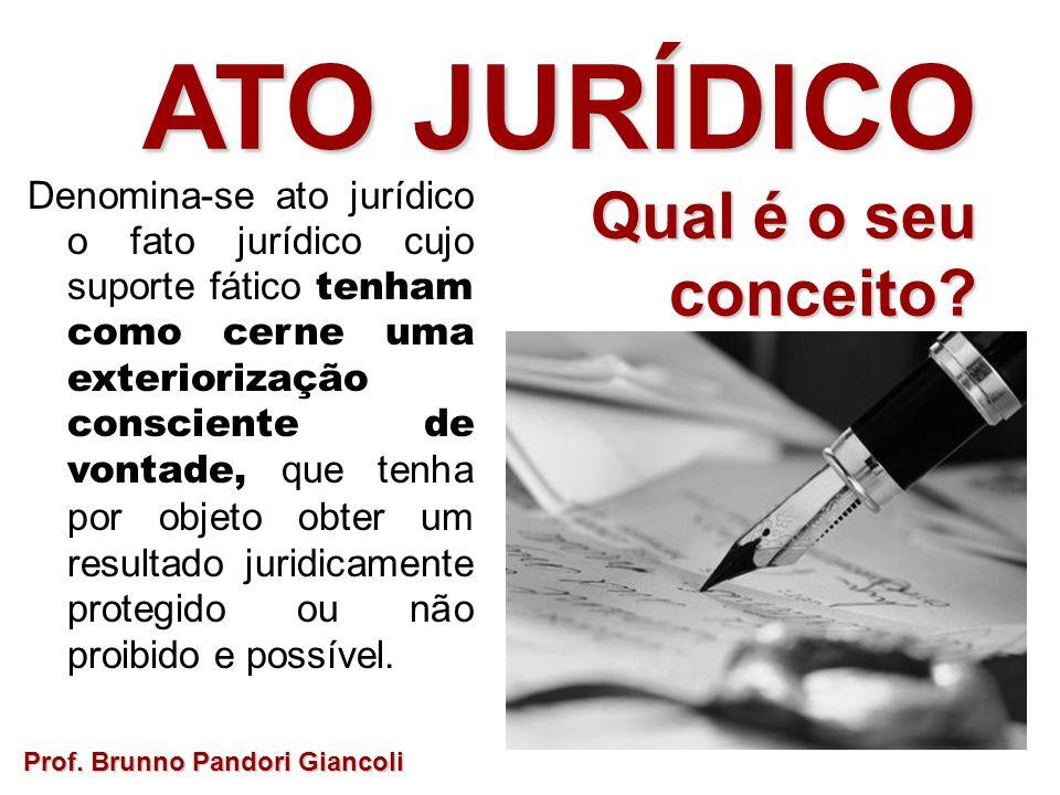 ATO JURÍDICO Qual é o seu Qual é o seuconceito? Prof. Brunno Pandori Giancoli Denomina-se ato jurídico o fato jurídico cujo suporte fático tenham como