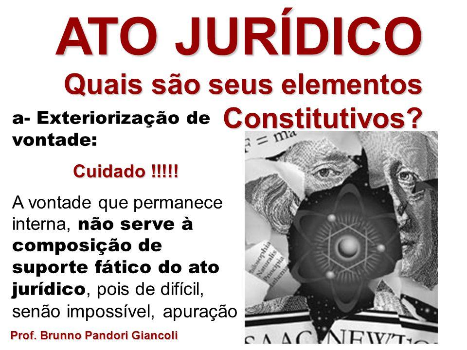 a- Exteriorização de vontade: Cuidado !!!!! A vontade que permanece interna, não serve à composição de suporte fático do ato jurídico, pois de difícil