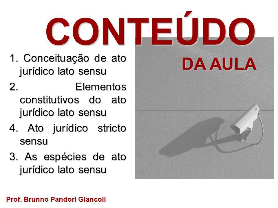 CONTEÚDO DA AULA DA AULA 1. Conceituação de ato jurídico lato sensu 2. Elementos constitutivos do ato jurídico lato sensu 4. Ato jurídico stricto sens