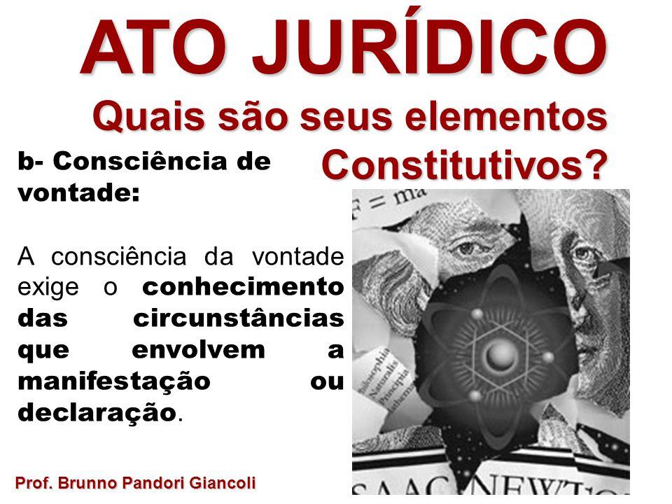 b- Consciência de vontade: A consciência da vontade exige o conhecimento das circunstâncias que envolvem a manifestação ou declaração. Prof. Brunno Pa