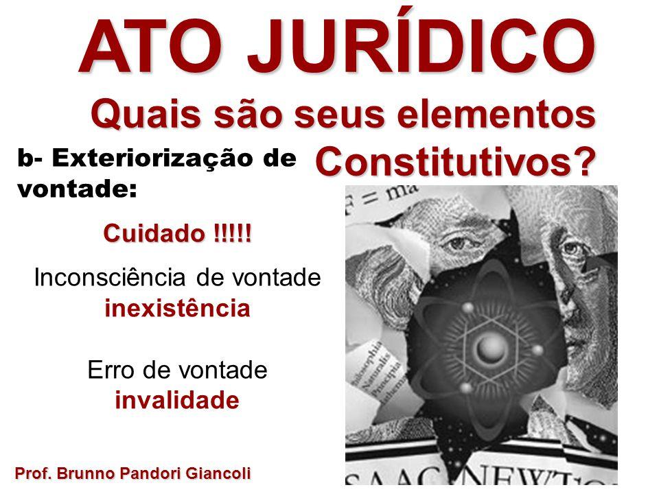 b- Exteriorização de vontade: Cuidado !!!!! Inconsciência de vontade inexistência Erro de vontade invalidade Prof. Brunno Pandori Giancoli ATO JURÍDIC
