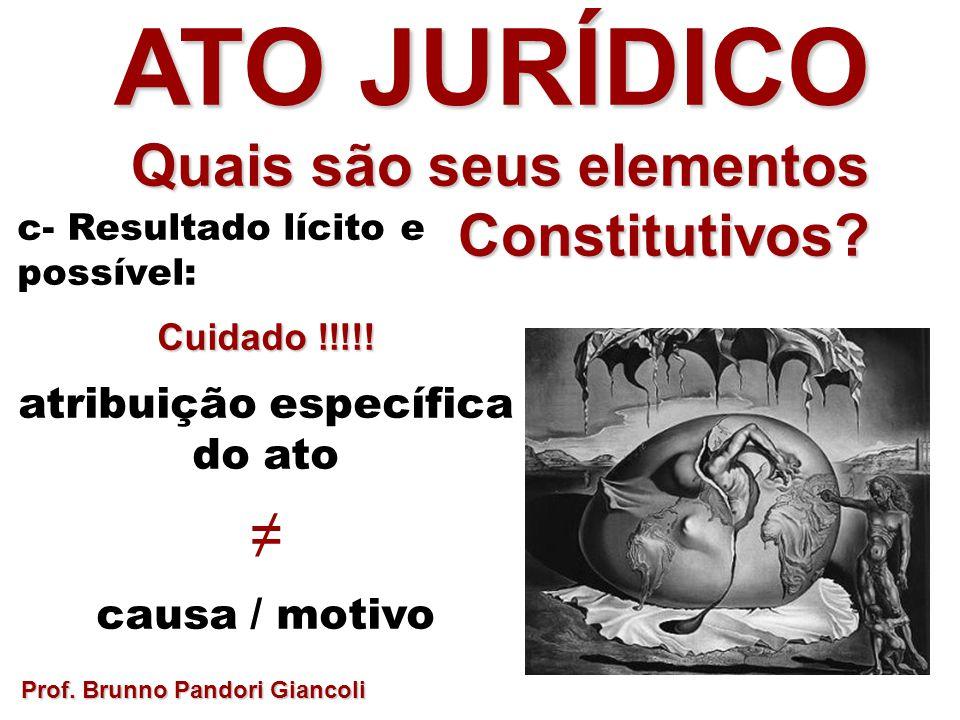 c- Resultado lícito e possível: Cuidado !!!!! atribuição específica do ato causa / motivo Prof. Brunno Pandori Giancoli ATO JURÍDICO Quais são seus el