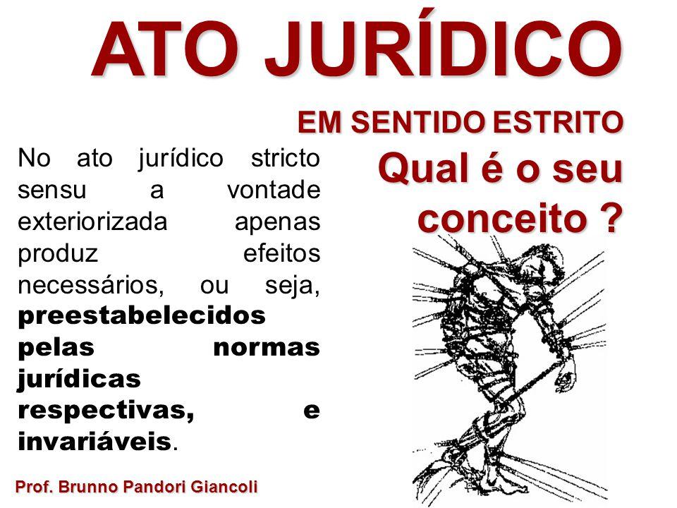 No ato jurídico stricto sensu a vontade exteriorizada apenas produz efeitos necessários, ou seja, preestabelecidos pelas normas jurídicas respectivas,