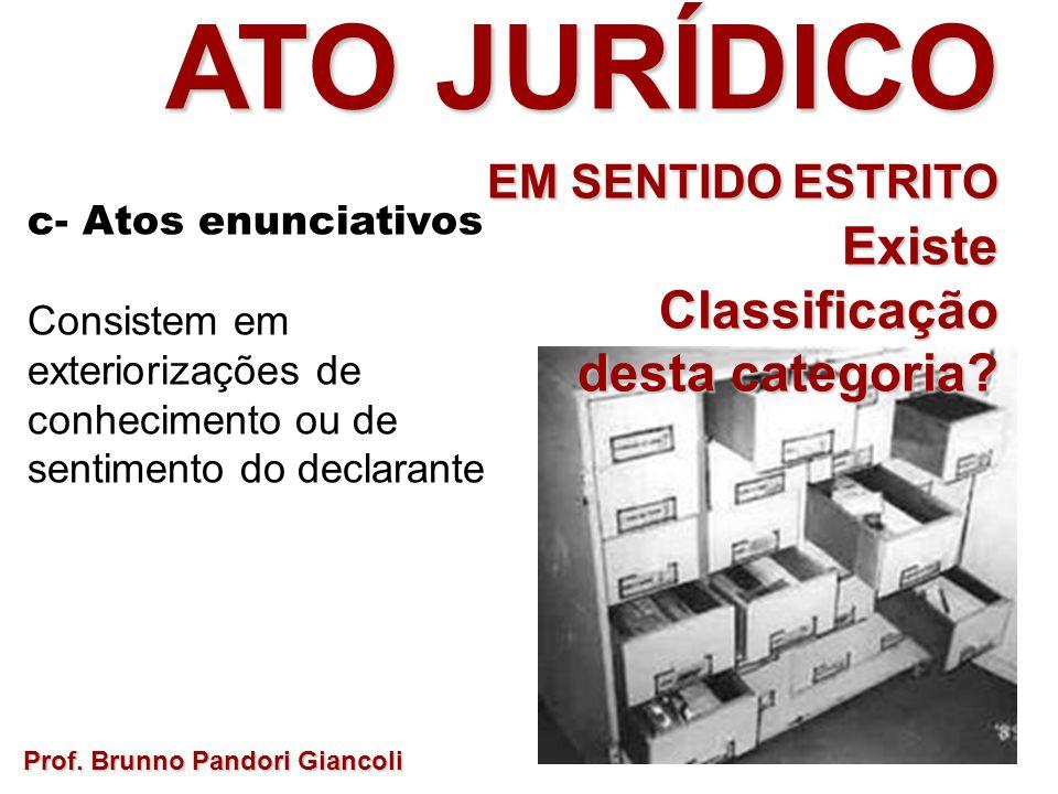 Prof. Brunno Pandori Giancoli ATO JURÍDICO EM SENTIDO ESTRITO ExisteClassificação desta categoria? c- Atos enunciativos Consistem em exteriorizações d
