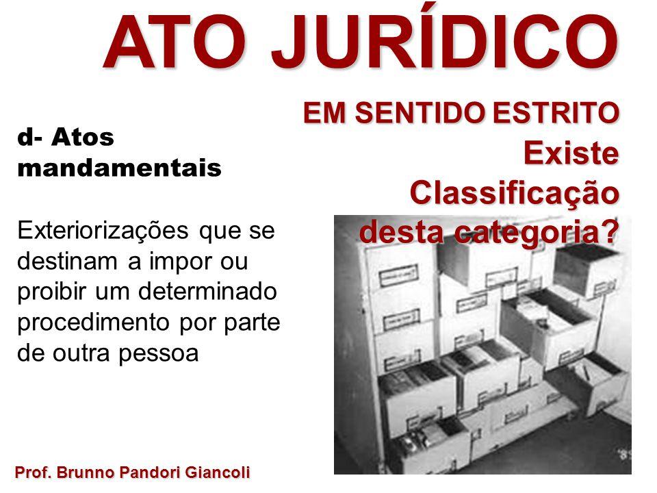 Prof. Brunno Pandori Giancoli ATO JURÍDICO EM SENTIDO ESTRITO ExisteClassificação desta categoria? d- Atos mandamentais Exteriorizações que se destina