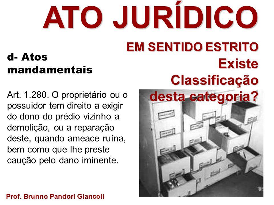 Prof. Brunno Pandori Giancoli ATO JURÍDICO EM SENTIDO ESTRITO ExisteClassificação desta categoria? d- Atos mandamentais Art. 1.280. O proprietário ou