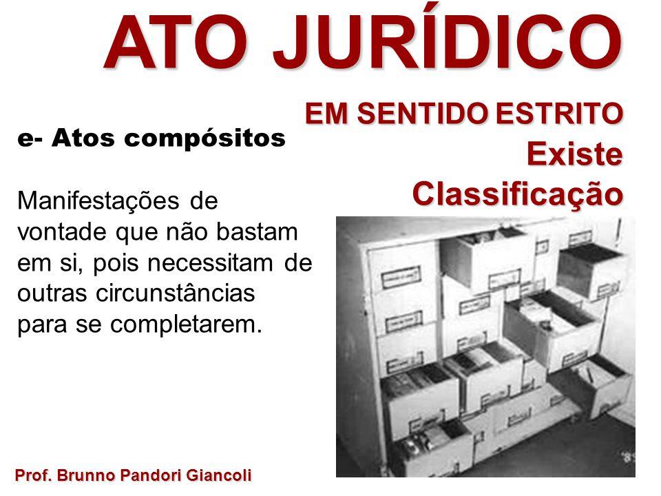 Prof. Brunno Pandori Giancoli ATO JURÍDICO EM SENTIDO ESTRITO ExisteClassificação desta categoria? e- Atos compósitos Manifestações de vontade que não