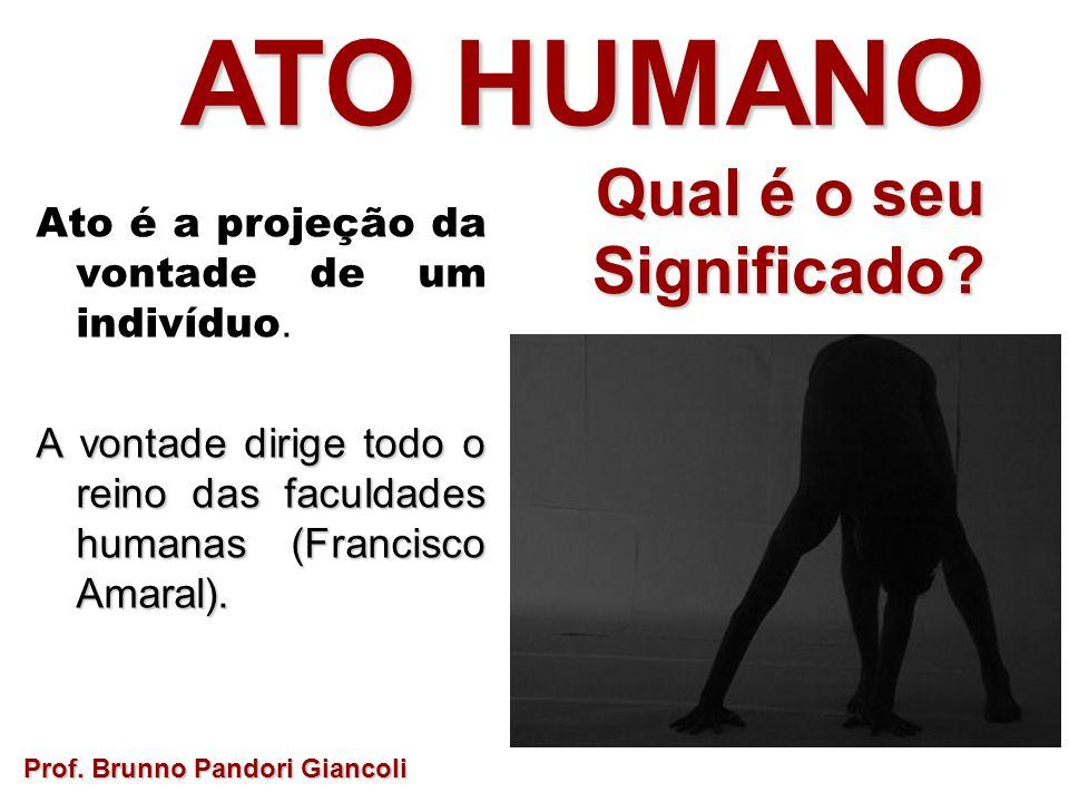 ATO HUMANO Qual é o seu Qual é o seuSignificado? Ato é a projeção da vontade de um indivíduo. A vontade dirige todo o reino das faculdades humanas (Fr