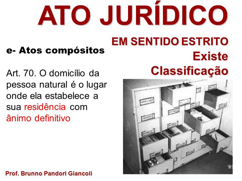 Prof. Brunno Pandori Giancoli ATO JURÍDICO EM SENTIDO ESTRITO ExisteClassificação desta categoria? e- Atos compósitos Art. 70. O domicílio da pessoa n