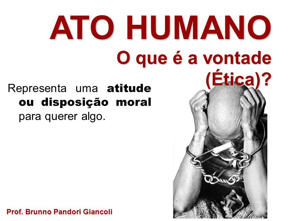 Representa uma atitude ou disposição moral para querer algo. Prof. Brunno Pandori Giancoli ATO HUMANO O que é a vontade O que é a vontade(Ética)?